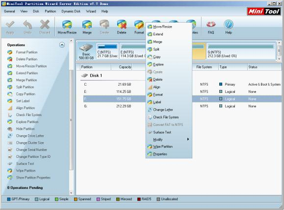 How to manage partitions on Windows Server 2008 R2?
